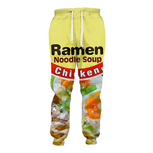 HaoTiam 3D Printed Chicken Ramen Joggers Salty Japanese Jogger Sweatpants Men/Women Full Length Hip-Hop Trousers Salty Noodles S