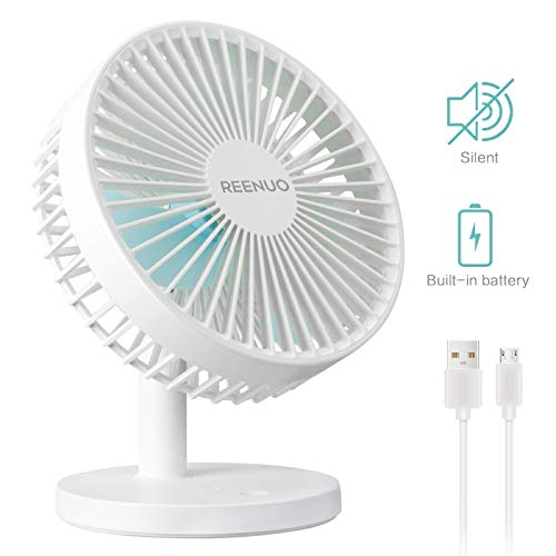 (REENUO Table Fan Super Quiet 7 Inch Desk Fan,3 Speeds Rechargeable Battery Powered USB Fan for Office,Home,Travel,Camping(White))