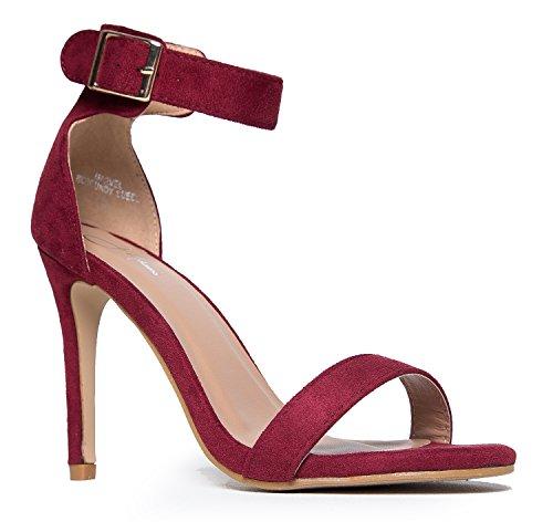 Burgundy Heels - Marvel Heel, Burgundy Suede, 9 B(M) US