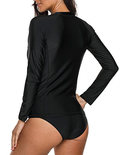 ATTRACO Womens Long Sleeve Rash Guard Shirt Athletic Sufing Tops Black XX-Large by ATTRACO (Image #2)