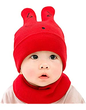 Cute Baby Comfortable Rabbit Ears Knit Hat and Scarf Set Unisex Infant Toddler 6-24 Months