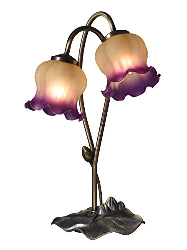 Springdale by Dale Tiffany STA16169 Princess Tulip 2-Light Hand Blown Art Glass Accent Lamp, Antique Brass - Tiffany Tulip