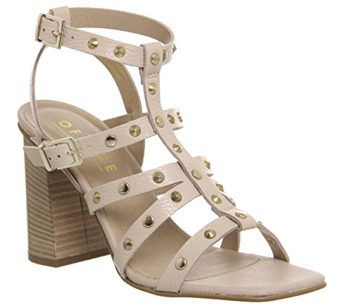 Strappy Heels Office Studded Nude Block Herring Leather 77EqT