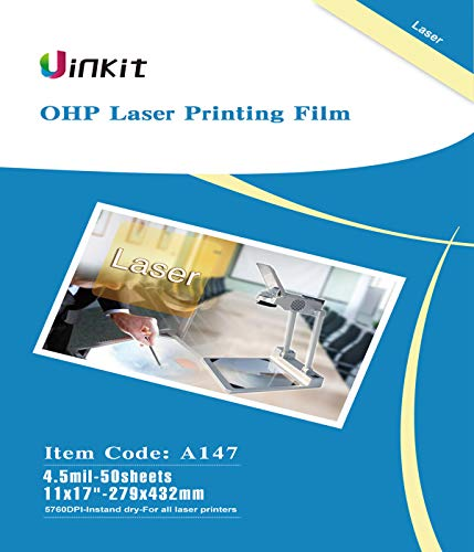 OHP Film Overhead Projector Film 11x17 - for Laser Jet Printer and Copier Transparency Film 50 Sheets Uinkit (50 17in Sheet)