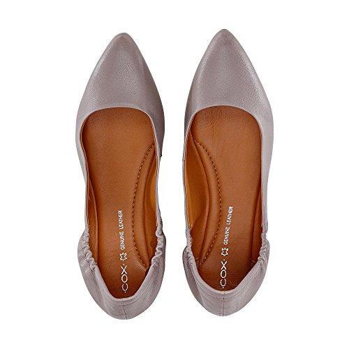 Cox Stretch Ballerina, Graue Flats Aus Leder mit rutschhemmender Laufsohle grau-hell