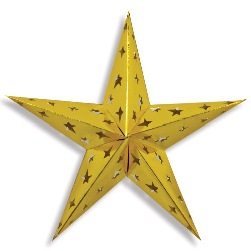 Beistle 1-Pack Dimensional Foil Star, 24-Inch, Gold]()