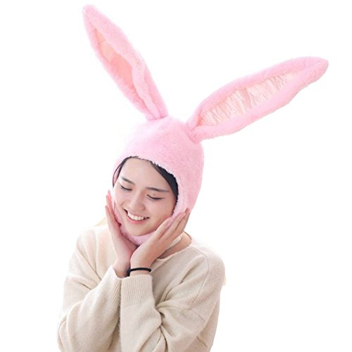 (BOBILIKE Plush Fun Bunny Ears Hood Women Costume Hats Warm, Soft and Cozy, Pink)