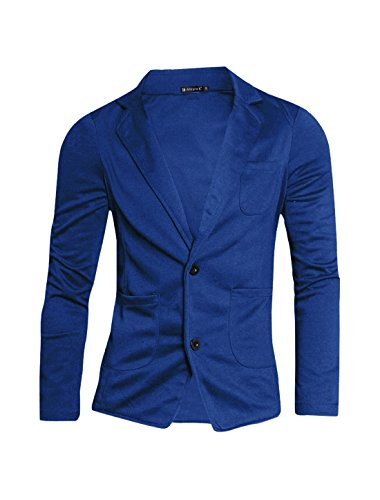 uxcell Men Two Pockets Front Single Breasted Long Sleeve Blazer Royal Blue S (US 34)