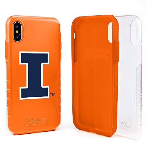 Guard Dog Illinois Fighting Illini Hybrid Case for iPhone Xs Max - Clear with Orange