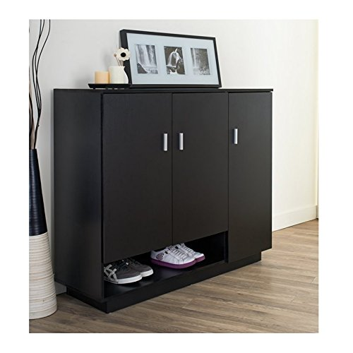 Shoe Cabinet For Entryway Storage with Doors – Hallway Wood Shelving Furniture Unit in Black - Bundle Includes Anti-slip Accessory Pad (Wood Shelving Units With Doors)