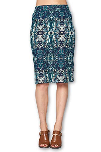 Women's High Waist Knit Stretch Multi Print Office Pencil Skirt (S-3XL) -Made in USA (Green, 2X-Large) ()