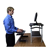 LIFT Standing Desk Conversion Kit - Ergonomic Adjustable Height Monitor Stand & Keyboard Tray for Sitting and Standing (Black & Black)
