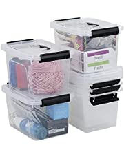 Farmoon 5L Clear Storage Bin, Small Plastic Stackable Box/Cotainer with Lid and Black Handle, 6 Packs