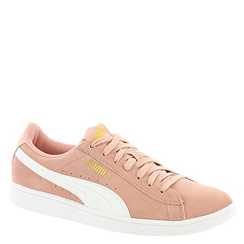 PUMA Women's Vikky Sneaker, Peach Beige White, 6.5 M (Puma Suede Sneakers)