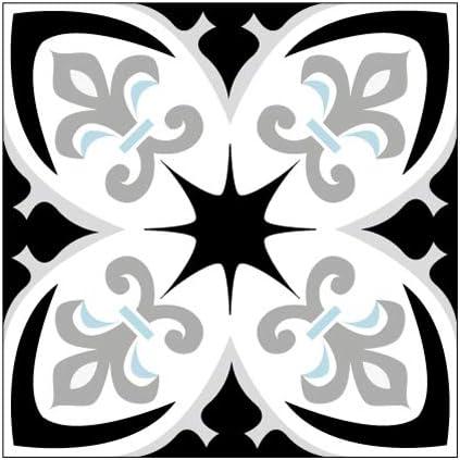 Lot de 4 Sticker Carrelage 10 x 10 cm Carreaux de Ciment BUTTERBLUE