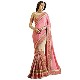 Nivah Fashion Women's Satin Embroidery Beads Border Work Saree With Blouse Piece