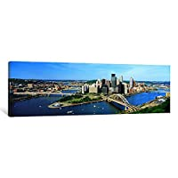 iCanvasART 1 Piece Daytime Skyline with The Delaware River, Pittsburgh, Pennsylvania, USA Canvas Print by Panoramic Images, 0.75 by 36 by 12-Inch