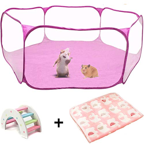 Tfwadmx Hamster Playpen with Mat, Large - Foldable Exercise Playpen, Breathable and Transparent Pet Cage Fence Indoor/Outdoor for Guinea Pigs Small Animal Gerbils Chinchillas Hedgehogs Rats