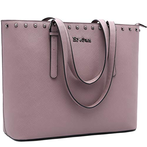 Laptop Bag for Women,15.6 Inch Laptop Tote Bag Office Briefcase with Adjustable Strap and Rivets(2013-purple)