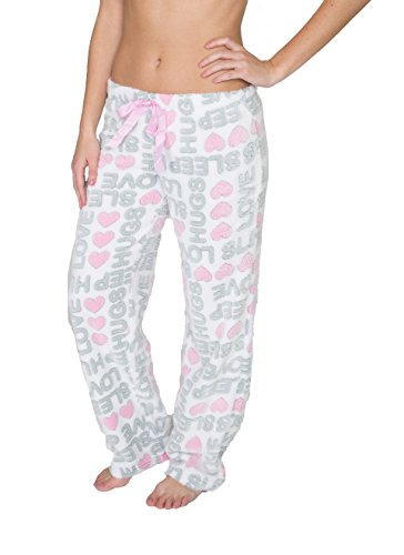 Sleep & Co Women's Super Soft And Cute Fleece Pajama Pant White With Printed Words Medium