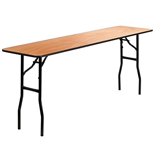 Flash Furniture 18'' x 72'' Rectangular Wood Folding Training/Seminar Table with Smooth Clear Coated Finished Top by Flash Furniture