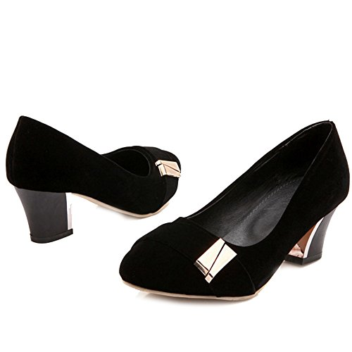 SJJH Women Court Shoes with Nubuck Material and Comfortable Large Size for Office Ladies Black MZ2I6keGi
