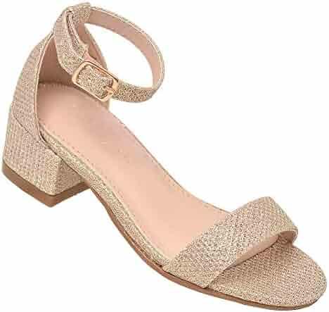 b90c7e04c7a8 Lov mark Girls Champagne Shimmery Low Block Heel Open Toe Sandals 11-4 Kids