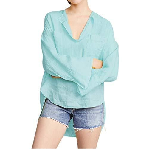 - ANJUNIE Women's Loose Cotton and Linen Blouse High Low Creative Hem V-Collar Casual Shirt Top(Blue,M)