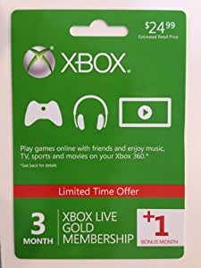 Xbox Live 3 Month Gold Membership + 1 Bonus Month