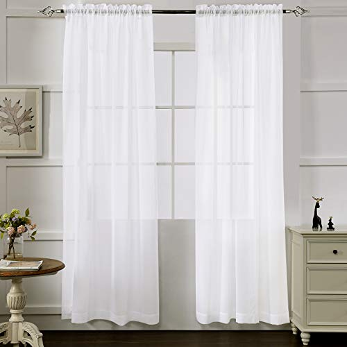"White Sheer Curtains 84 Inches Long, Rod Pocket Sheer Drapes for Living Room, Bedroom, 2 Panels, 52""x84"", Semi Crinkle Voile Window Treatments for Yard, Patio, Villa, Parlor, by Mystic Home."