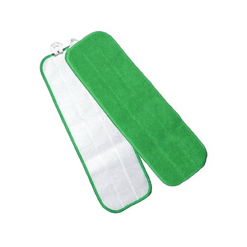 Microworks 2504-MFFP-18G-DZ Microfiber Flat Mop, 18'', Green with Velcro Back (Pack of 12) by Microworks