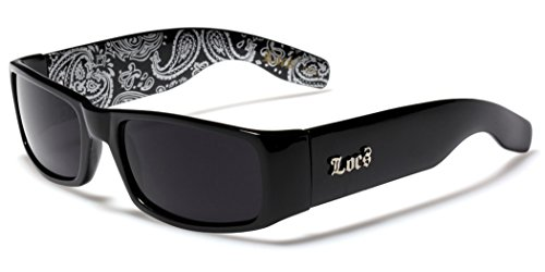 Locs Original Gangsta Shades Men's Hardcore Dark Lens Sunglasses with Bandana Print - - Loc Glasses