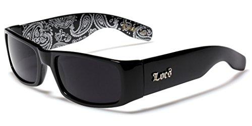 Locs Original Gangsta Shades Men's Hardcore Dark Lens Sunglasses with Bandana Print - - Sunglasses Shades City Wholesale
