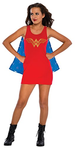 [Rubie's DC Comics Justice League Superhero Style Teen Dress with Cape Rhinestone Wonder Woman, Red, Medium] (Womens Tank Dress Wonder Woman Costumes)