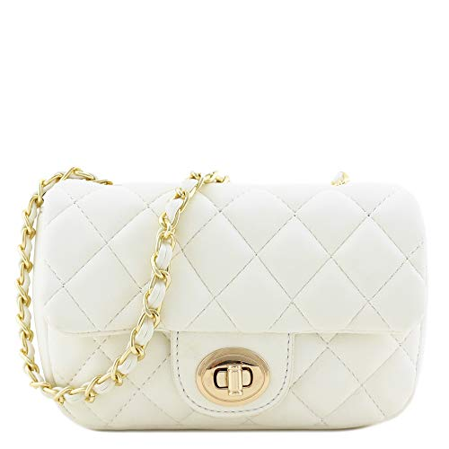 Mini Classic Quilted Chain Shoulder Bag (White)