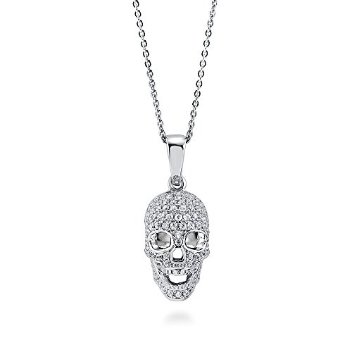 BERRICLE Rhodium Plated Sterling Silver Cubic Zirconia CZ Skull Bones Fashion Pendant Necklace