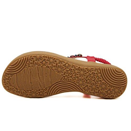 dqq red pour de sandales avec femmes Bohème femme string qrqwZURF