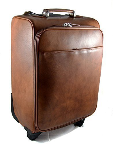 Amazon.com: Leather trolley travel bag weekender overnight leather ...