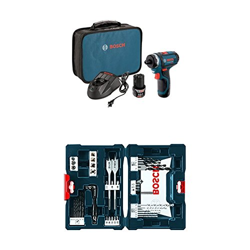 Bosch PS21-2A 12-Volt Max Lithium-Ion 2-Speed Pocket Driver Kit with 2 Batteries, Charger and Case w/ 41 pc drill and drive bit set by Bosch