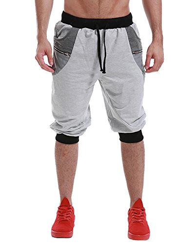 MODCHOK Men's 3/4 Jogger Pants Sport Fitness Sweatpants Elastic Casual Track Pant Running Trouser Slim Fit Tracksuit Light Grey2 XL