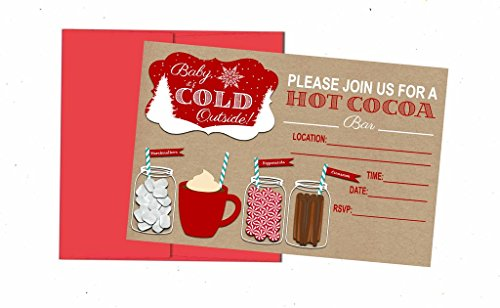 Hot Chocolate Cocoa Bar Party Supply Decorations and Invitations (Invites) 12 Invites with Envelopes (Cocoa Wedding Hot Favors)