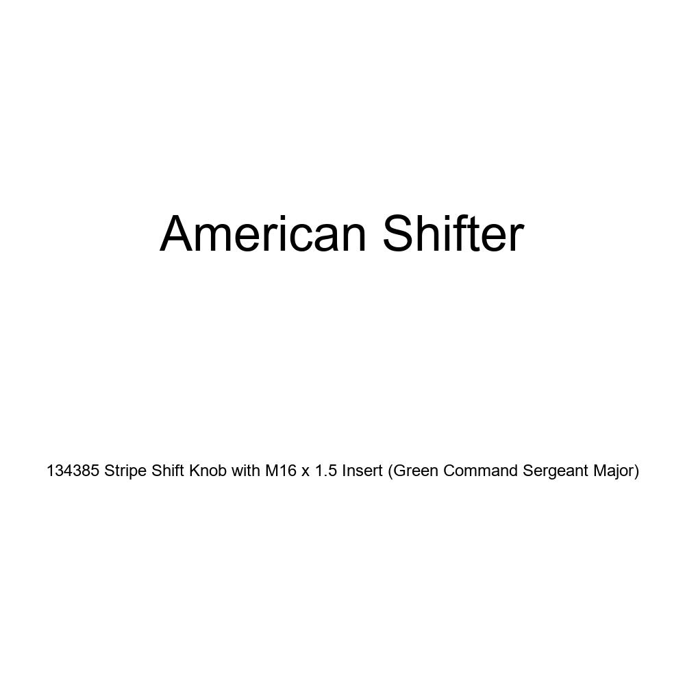 American Shifter 134385 Stripe Shift Knob with M16 x 1.5 Insert Green Command Sergeant Major