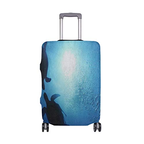 Suitcase Cover Blue Underwater World Sea Turtle Family Luggage Cover Travel Case Bag Protector for Kid Girls