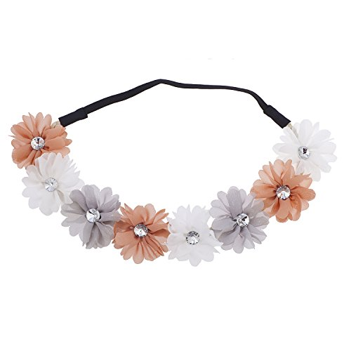 Tropical Flower Rhinestone - Lux Accessories Multicolor Tan Chiffon Rhinestone Flower Crown Headband Headwrap