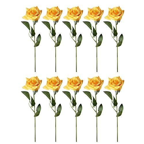 chenqiu 20PC Simulation Rose Fake Flower, Artificial Rose Artificial Rose Wedding Bouquet Silk Flower Bouquet Pink