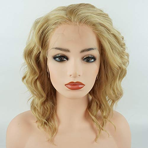 Meiyite Hair Curly Short 14inch Honey Blonde Mix Half Hand Tied Heavy Density Realistic Synthetic Lace Front Wigs ()