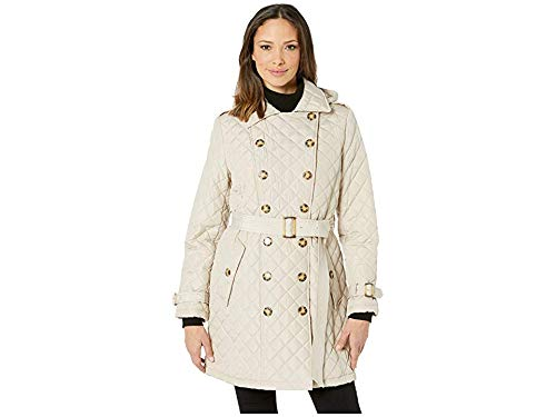 - Calvin Klein Women's Double Breasted Belted Quilt with Hood Barley Small