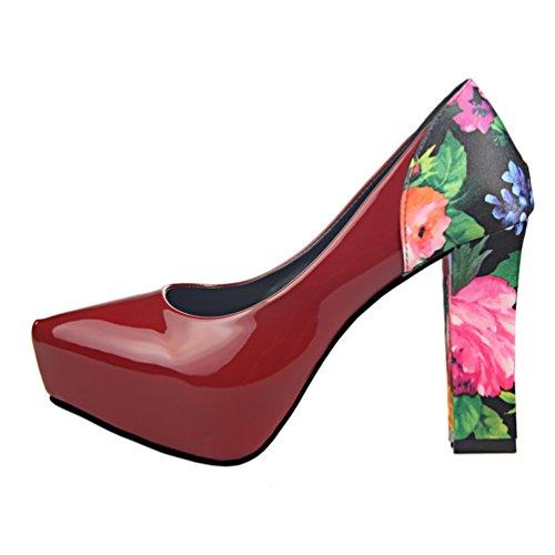 HooH Damen Simple Blumen Platform Klobige Abendschuhe Pumps Wein Rot