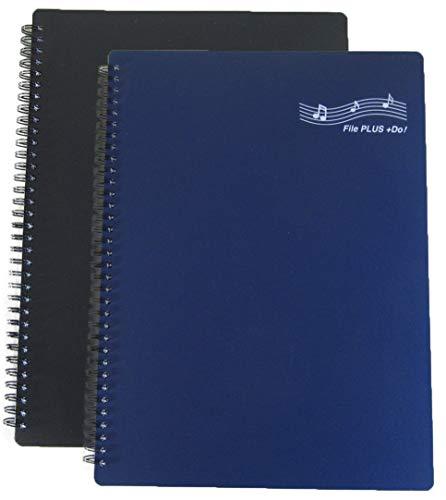 FILE PLUS DO Folder for Musicians, Sheet Music Folder, Band Folder, Writable, Spiral-Bound, US LETTER / A4 Size, 30 Sleeves, 60 Pages (Black + Navy 2 per set)