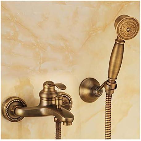 レトロバスルーム浴室の壁には、手持ちアンティーク真鍮のシャワーヘッドキットシャワーの蛇口セットをマウント 高圧レインシャワーヘッド (Color : A)